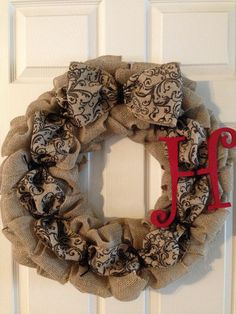 I found this really awesome Etsy listing at https://www.etsy.com/listing/178482265/burlap-wreath-initial-burlap-wreath    #crafts #craftideas #funcrafts