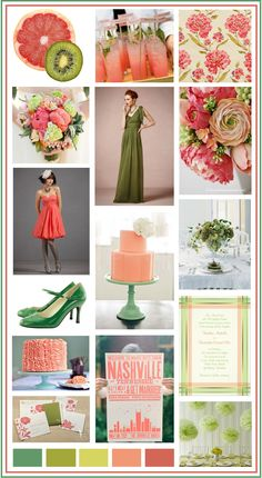 Coral and Green Wedding - Beautiful but without the far left green color and the shoes