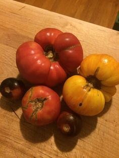 Some crazy looking tomatoes we got, but great for making pasta sauce.