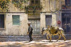 "From Elizabeth Hulings' desk, learn more about ""Old Man Leading Donkey""  #Spain #Donkey #artist"