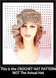 Crochet Pattern Hat Crochet Sun Hat Pattern for Women Crochet Hat Pattern Beanie Hat Pattern Womens Hat Hemp Cord CYNTHIA Beanie Hat by strawberrycouture by #strawberrycouture on #Etsy