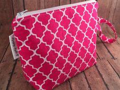Fuschia Pink Quatrefoil Wristlet Makeup Bag by MurphyMadeIt