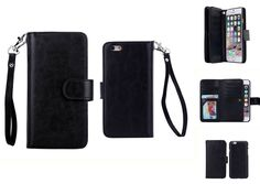 (Case for Apple iPhone 6 Plus/5.5 inches) Bon Venu Versatile Business Wallet Purse style Synthetic£¨Faux)leather material Crazy Horse series Pu Back Cover Magnetic detachable removable Case 2 Kickstands Wallet 9 Cards Slot and Wallet cards Slot with Dark cell Pouch Multi-function Wallet Phone Case for iPhone 6 Plus/5.5 inches+Screen Protector (Black). Elegant Wallet Design for with Holders for credit card cash holder provide credit Card Slots Wallet sandwiched. Specifically Vintage…
