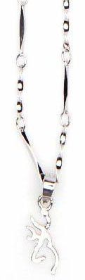 Browning Buckmark Sterling Silver Drop Pendant Necklace