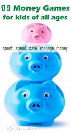 11 sets of money games for kids teaching money skills: recognize money value, count and calculate, know how much to spend, to save and to invest. There are money games for preschool and school age kids. Fun ways for kids to learn these essential life skills.