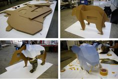 WANDERING TERRITORY  / In Wandering Territory, a 3D digital model of a brown bear was converted into a 2D cardboard template before it was popped back into a sculptural form. its polygon sides unfloding like a map, illustrating the idea of migration and the contrast of the urban world against the curious animal's natural habitat. It was made in collaboration with packaging and display company Vinke.