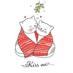Кошки целуются под омелой Вектор | премиум Скачать