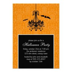 Chandelier and Bats Halloween Party Invitations