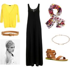 Black Maxi Dress - Yellow Cardigan + Floral Skirt