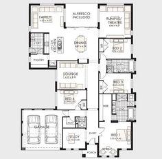 Plano de casa de un piso con frente amplio