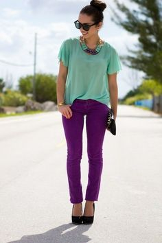 Purple Skinny jeans and mint green top with purple accessories!  Pair with a cream peacoat and you are ready for Fall!