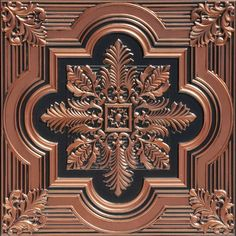 This Faux Tin Ceiling Tile comes in many finishes including copper finish, there is an image of a Kitchen Copper Ceiling using this tile. Painted Ceiling, Covering Popcorn Ceiling, Coffered Ceiling, Tile Installation, Metal Tile, Faux Tin, Ceiling Tiles, Faux Tin Ceiling Tiles, Tile Steps