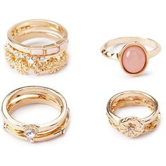 Forever 21 Opal Faux Stone Mixed Ring Set ($6.90) ❤ liked on Polyvore featuring jewelry, rings, accessories, mid-finger rings, top finger rings, twist rings, band rings and opal ring