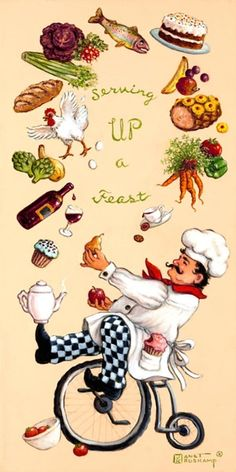 Whimsical Chef Serving Up a Feast by Janet Kruskamp - Original paintings for sale by the artist Chef Kitchen Decor, Kitchen Art, Chef Pictures, Original Paintings For Sale, Spirited Art, Le Chef, Decoupage Paper, Food Illustrations, Whimsical