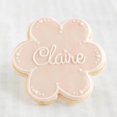 Personalized Name Flower Cookie Favors // 1 doz. // First Communion Birthday Baby Shower Baptism Confirmation Baby Girl // Preservative Free