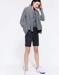 J.Crew women's rib-stitch open cardigan, and Collection wool bermuda short. To preorder call 800 261 7422 or email erica@jcrew.com.