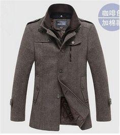 Men Pea Coat Wool High Collars Woolen Blends Casaco Masculino Sobretudo Trench Coat Male Abrigos Hombre Ceket Harajuku Overcoat
