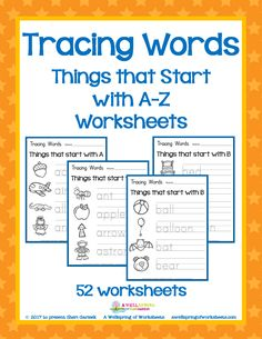 These Tracing Words worksheets are great for letter formation practice, beginning letter identification, and vocabulary development. Great to have on hand for Letter of the Week lessons, small group or whole group instruction, or a time filler for those extra 15-20 minutes of the day. This set includes 52 worksheets:--- 2 worksheets per letter.