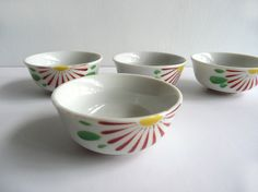 Porcelain sake cups - Japanese antique - set of 4 - hand painted half chrysanthemum - WhatsForPudding