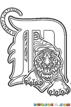 Detroit tigers logo stencil baseball coloring sheet for Coloring pages baseball team logos