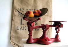 Antique industrial cast iron produce scale with metal pan