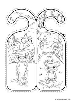 Halloween door hangers - free printables #coloring #doorhangers #halloween