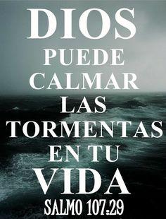 ...Entonces claman a Jehová en su angustia,  Y los libra de sus aflicciones.  Sal 107:29  Cambia la tempestad en sosiego,  Y se apaciguan sus ondas.  Sal 107:30  Luego se alegran, porque se apaciguaron;  Y así los guía al puerto que deseaban.
