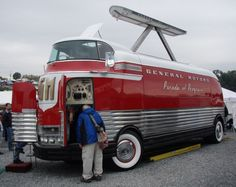 One of 12 behemoths that GM built starting in 1939 for its Parade of Progress traveling show, Futurliner No. 10 has perhaps remained in public view the longest of all the Futurliners. Its initial tour of duty – in a slightly different configuration that included more glass in the canopy and that likely used a GM 4-71 two-cycle diesel engine for power