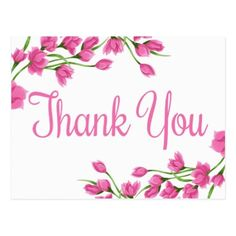 Shop Pink Floral Thank You Lavender Fuchsia Flowers Postcard created by merrybrides. Happy Birthday Images, Birthday Thank You, Happy Birthday Wishes, Birthday Greetings, Birthday Poems, 21 Birthday, Sister Birthday, Thank You Wishes, Thank You Greetings
