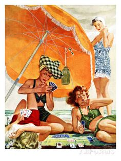 """Card Game at the Beach,"" August 28, 1943 Giclee Print by Alex Ross at AllPosters.com"