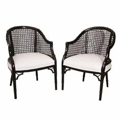 vintage Hollywood Regency Chinese Chippendale Faux Bamboo Black Arm Chairs