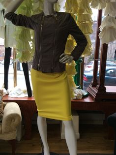 #Art#Nouveau#Art Nouveau #woman's clothing. Javier Simorra  jacket size 42 $215.  5th & Mercer yellow stretch skirt. Zips to the hem.  Come in lime and black Sizes 10-12-14