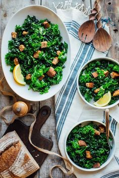 This Overnight Kale Caesar Salad recipe will change your relationship with kale forevermore! And in a good way. The BEST way. You'll make it over and over because it is the perfect make-ahead vegetarian dish! #makeahead #kale #caesar #healthy #salad