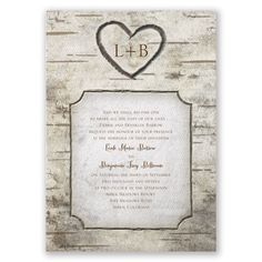 country, heart, wood, and monogram wedding invitation | rustic wedding invitation I birch tree carvings