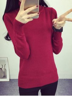 SHARE & Get it FREE | High Neck Sweet Solid Color SweaterFor Fashion Lovers…