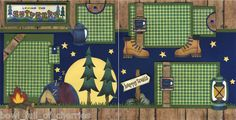 Loving The Outoors Camping 2 Premade Scrapbook Pages 12x12 Cherry Scrapbooking | eBay