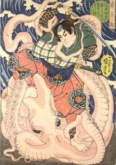 Ariô Maru (有王丸) on the shore, sword in hand, struggling with a giant octopus, Utagawa Kuniyoshi, ca. 1834-5