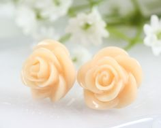 Beige Rose Ear Posts, Bridal Jewelry, Bridesmaids Gift,