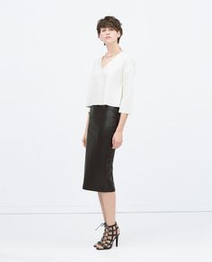 Image 1 of FAUX LEATHER MIDI PENCIL SKIRT from Zara