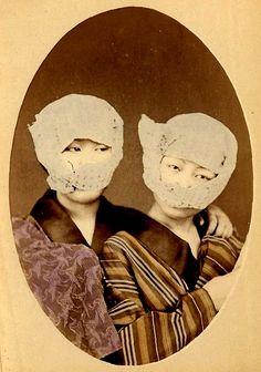 geisha with partially hidden faces, for fashion's sake