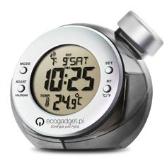 Zegar na wodę z nadrukiem / Water powered clock with printing Water Powers, Cooking Timer, Clock, Marketing Ideas, Prints, Gadgets, Toys, Green, Watch