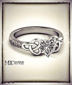 Celtic Wedding Rings and tying the Knot Celtic Engagement Rings, Celtic Wedding Rings, Celtic Rings, Celtic Knot, Wedding Band, Dream Wedding, Jewelry Rings, Jewelery, Heart Shaped Diamond