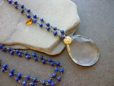 Long Gemstone Lapis necklace and Quartz Pendant, oxidized blue gemstone rosary necklace, bohemian,  Gemstone focal pendant