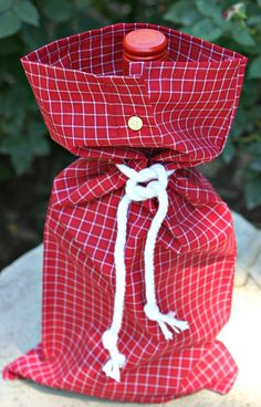 Upcycled Shirt Sleeve Red Windowpane Check by onceuponafirefly