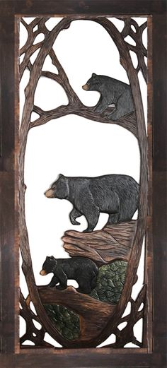 """Three bears carved into this beautiful wood screen door, make it a must have for the cabin!Size: 80"""" x 36"""" x 1"""""""