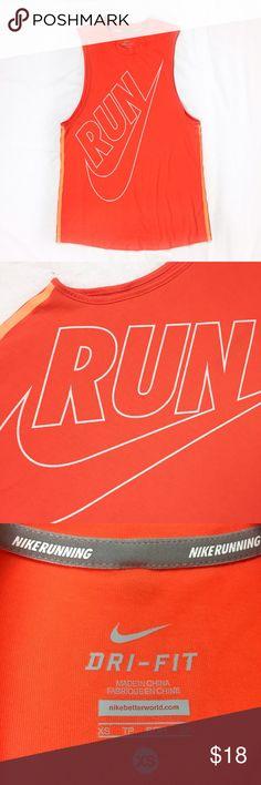 "NIKE ""RUN"" orange tank top NWOT, no flaws. Orange with 2 neon orange stripes on sides. Vertical silver reflector strip on back. 🚫trade 🛍discount on bundles❣ Nike Tops Tank Tops"