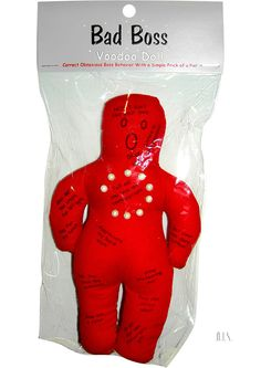 Bad Boss Voodoo Doll - Whenever you feel that certain someone is taking you for granted, use one of the pins to put that person back in line. Stick a pin into the activity that you want them to do, and instantly you`ll start getting the respect you deserve!