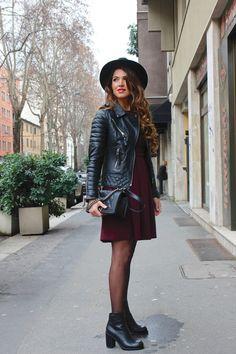 H&M Trend Dress Bodaskins Jacket Alexander McQueen boots Chanel Boy Bag.