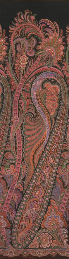 Design for a Paisley Shawl by George Haite about watercolour and body colour. Victoria and Albert Museum. Motif Paisley, Paisley Park, Paisley Design, Paisley Pattern, Paisley Print, Paisley Embroidery, Paisley Fabric, Gold Embroidery, Textile Prints