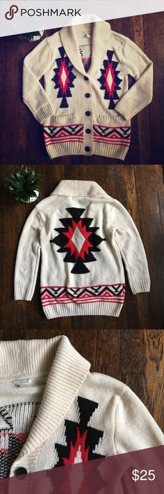 Wool blend Western cardigan Forever 21 cardigan. Size small, but I think this could fit a medium too because of its looser fit. 65% acrylic, 23% wool, 12% nylon. Red black and cream designs. Black buttons. Roll up collar. Two side pockets. Good condition Forever 21 Sweaters Cardigans